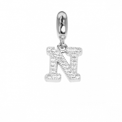 Charm con lettera N in zirconi