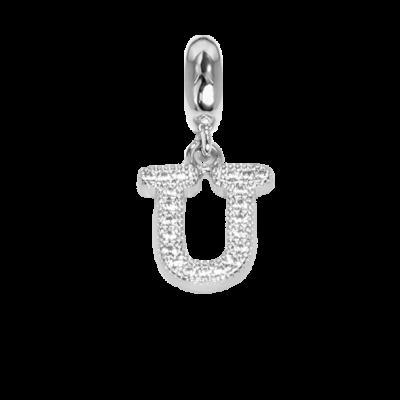 Charm con lettera U in zirconi