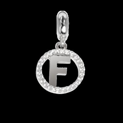 Charm circolare in zirconi con lettera F