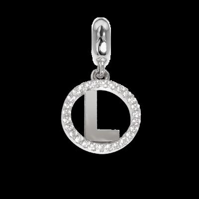Charm circolare in zirconi con lettera L