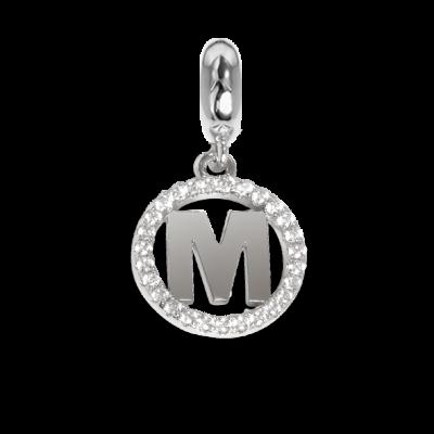 Charm circolare in zirconi con lettera M