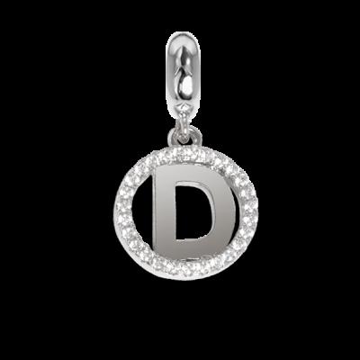 Charm circolare in zirconi con lettera D