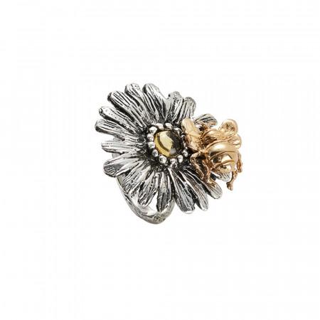 Anello margherita in argento brunito e ape dorata