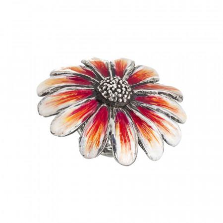 Anello margherita grande in argento brunito dipinto nelle sfumature dell'arancione