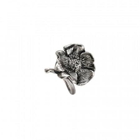 Anello contrariè in argento brunito con fiore di ciliegio
