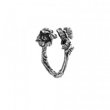 Anello contrariè aperto in argento brunito con fiore di ciliegio e farfalline