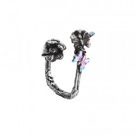 Anello contrariè aperto in argento brunito con fiore di ciliegio e farfalline dipinte a mano