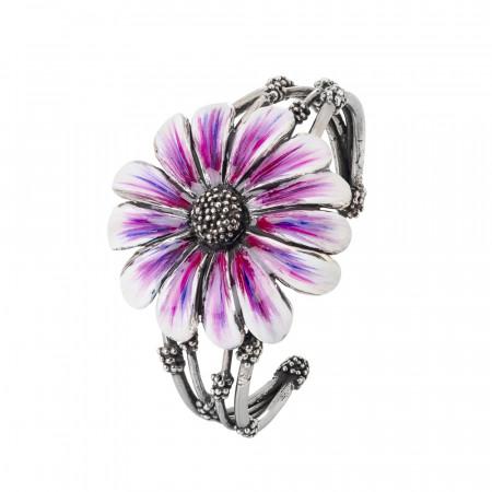 Bracciale rigido a fascia in argento brunito con margherita dipinta di viola