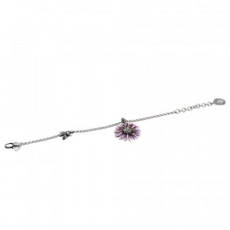 Bracciale in argento brunito con margherita pendente dipinta di viola