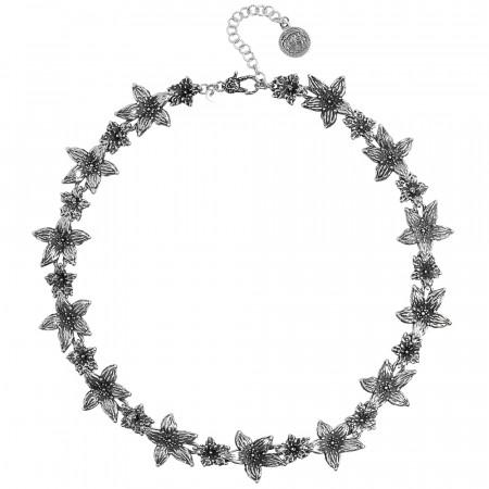 Collana in argento brunito con fiori di lilium