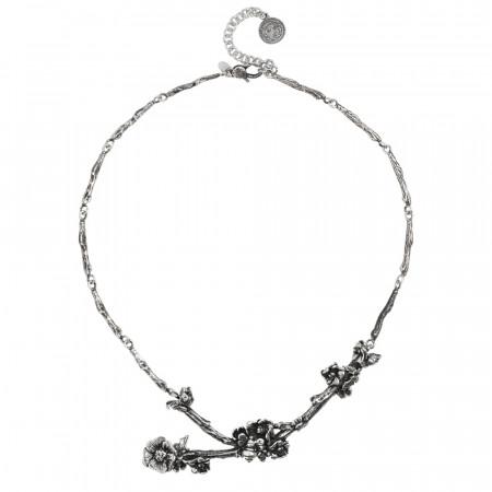 Collana semirigida in argento brunito con rami di ciliegio, fiori e farfalle