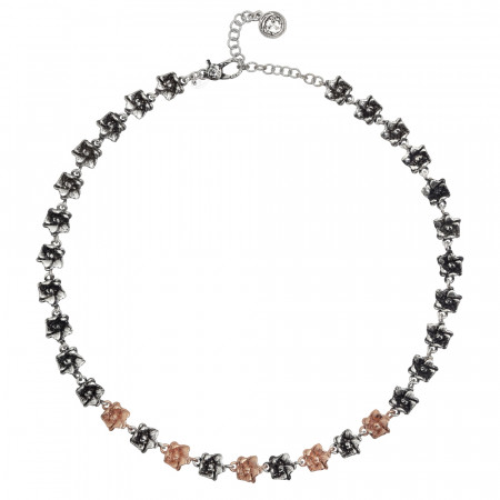 Collana con fiori di ciliegio in argento brunito e placcati oro rosa