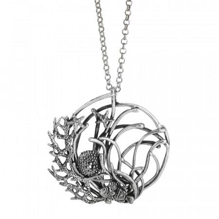Collana Marina lunga con pendente di anemoni