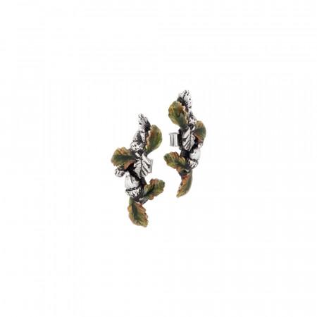 Orecchini con foglie di castagno brunite e dipinte a mano