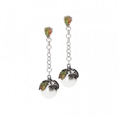 Orecchini in argento dipinto a mano con perla naturale pendente