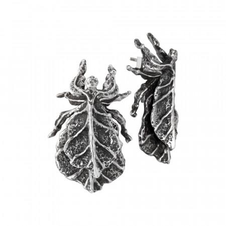 Orecchini con insetto foglia in argento brunito