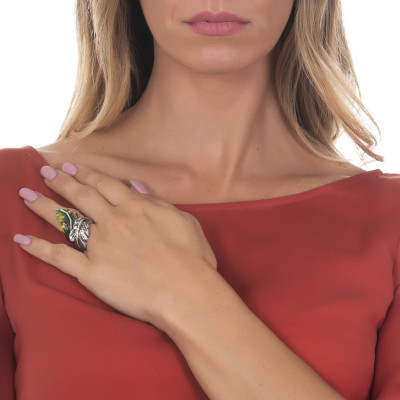 Anello contrariè foglia piuma in argento brunito dipinto a mano