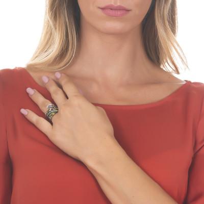 Anello a fascia in argento brunito dipinto a mano