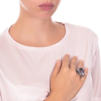 Anello carpa in argento brunito con ametista