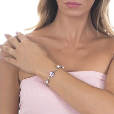 Bracciale in argento brunito con perle naturali e fiore di ninfea fucsia