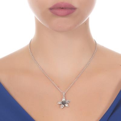 Collana in argento brunito con fiore di lilium pendente