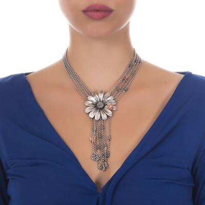 Collana multifilo in argento brunito con margherita centrale, frange e api rosate