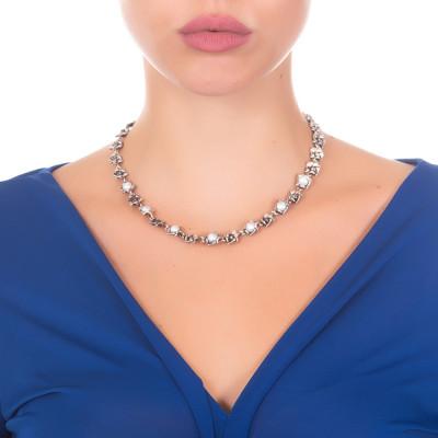 Collana con fiori di ciliegio in argento brunito e perle naturali
