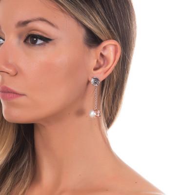 Orecchini in argento brunito con perla naturale pendente e ranocchio rosato