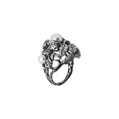 Anello castagno in argento brunito con perle naturali