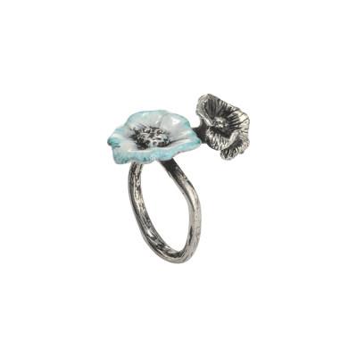 Anello contrariè in argento brunito con fiori di ciliegio