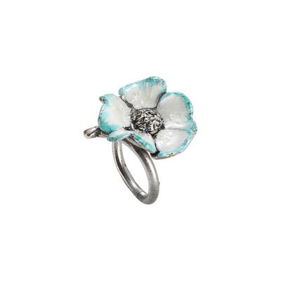 Anello contrariè in argento brunito con fiore di ciliegio dipinto a mano
