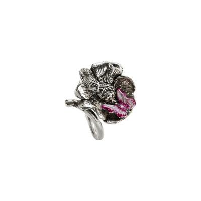 Anello contrariè in argento brunito con fiore di ciliegio fuscia e bianco perlato