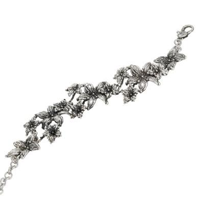Bracciale in argento brunito con fiori di lilium