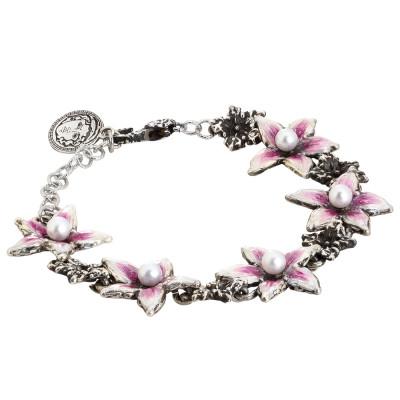 Bracciale in argento brunito con perle naturali , fiori di lilium dipinti e bruniti