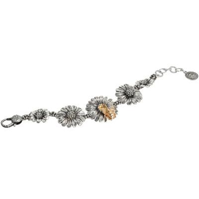 Bracciale in argento brunito con margherite degradè e ape dorata