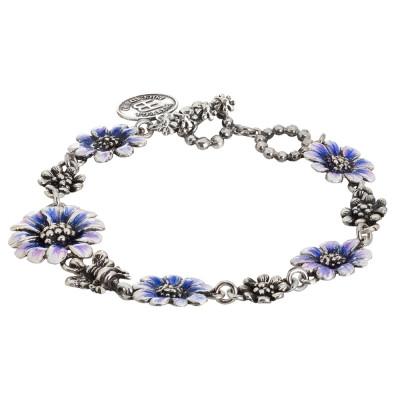 Bracciale in argento brunito con margherite degradè dipinte di blu