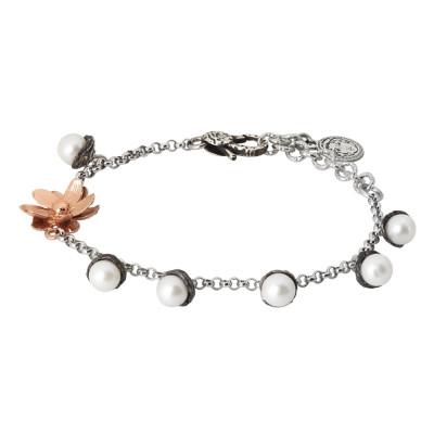 Bracciale in argento brunito con perle naturali e fiore di ninfea rosato
