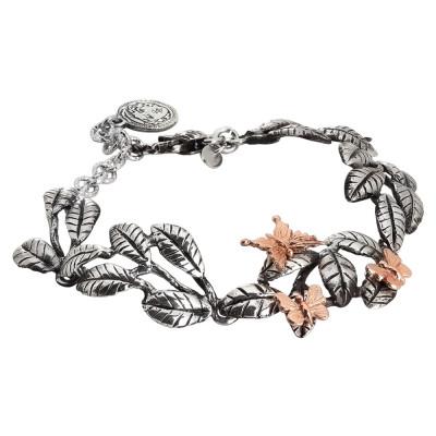 Bracciale semirigido in argento brunito con foglie di ulivo e farfalle rosate