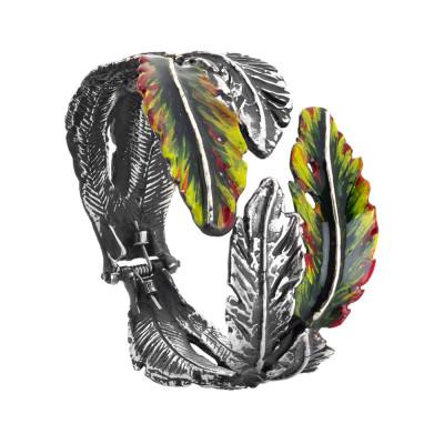Bracciale rigido con foglie piuma in argento brunito e dipinte a mano