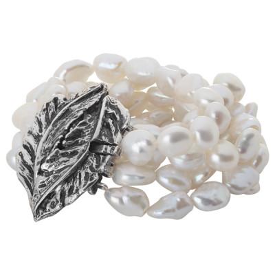 Bracciale grande multifilo con perle barocche naturali e foglia piuma in argento brunito