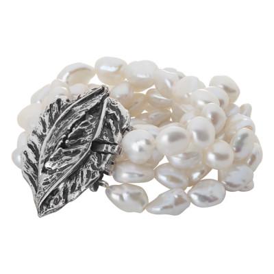 Bracciale medio multifilo con perle barocche naturali e foglia piuma in argento brunito
