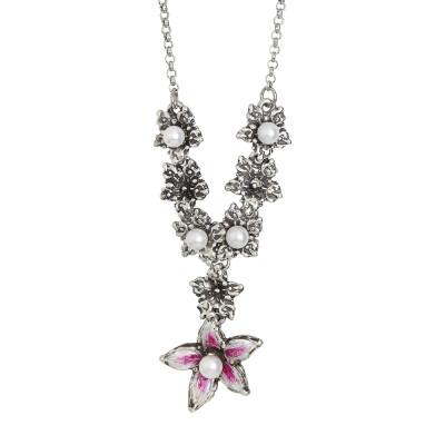Collana a Y in argento brunito con fiori di lilium e perle naturali