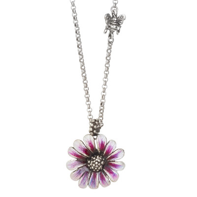 Collana margherita dipinta a mano di viola e apina in argento brunito