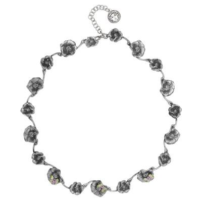 Collana semirigida in argento brunito con fiori di ciliegio e farfalle dipinte a mano