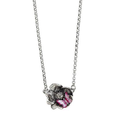 Collana in argento brunito con fiore di ciliegio e farfalla dipinta a mano