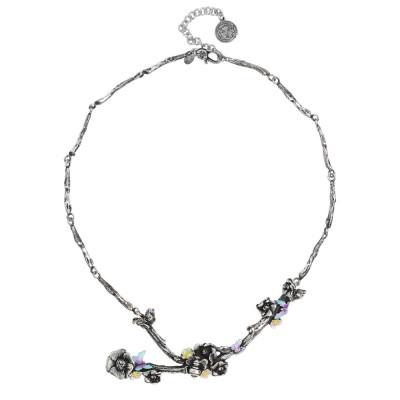 Collana semirigida in argento brunito con rami di ciliegio, fiori e farfalle dipinte a mano