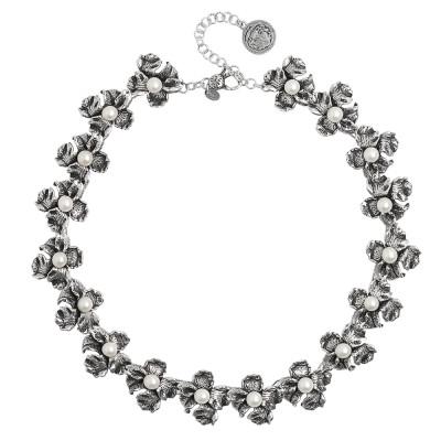 Collana con fiori di iris in argento brunito e perle naturali