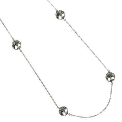 Collana Chanel in argento brunito con decorazioni circolari e albero della vita dipinto a mano
