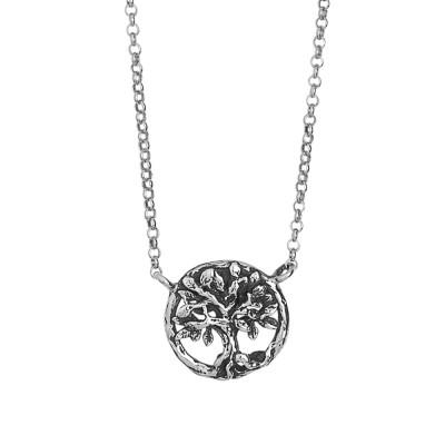 Collana in argento brunito con pendente centrale decorato da un albero della vita