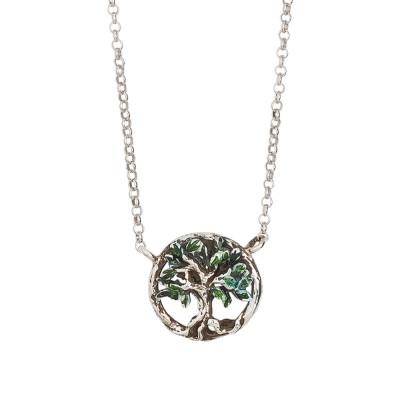 Collana in argento brunito con pendente centrale decorato da un albero della vita dipinto a mano